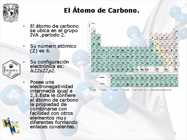 El Átomo de Carbono. • El átomo de carbono se ubica en el grupo