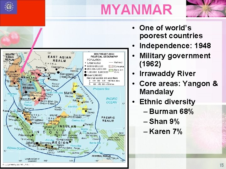 MYANMAR • One of world's poorest countries • Independence: 1948 • Military government (1962)