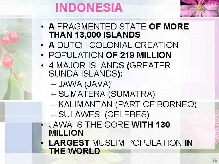INDONESIA • A FRAGMENTED STATE OF MORE THAN 13, 000 ISLANDS • A DUTCH