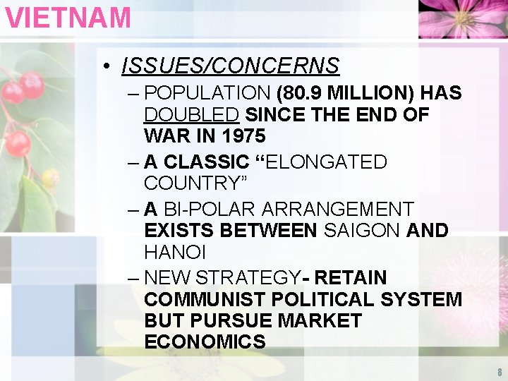VIETNAM • ISSUES/CONCERNS – POPULATION (80. 9 MILLION) HAS DOUBLED SINCE THE END OF