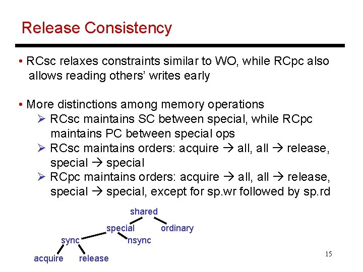 Release Consistency • RCsc relaxes constraints similar to WO, while RCpc also allows reading