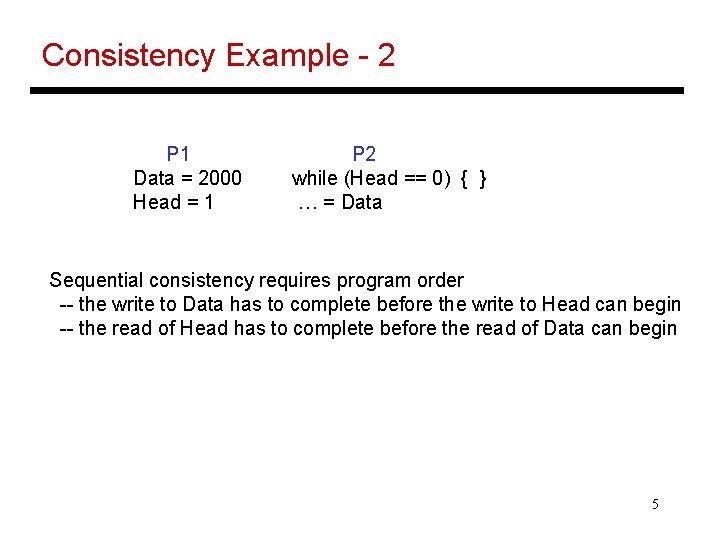 Consistency Example - 2 P 1 Data = 2000 Head = 1 P 2