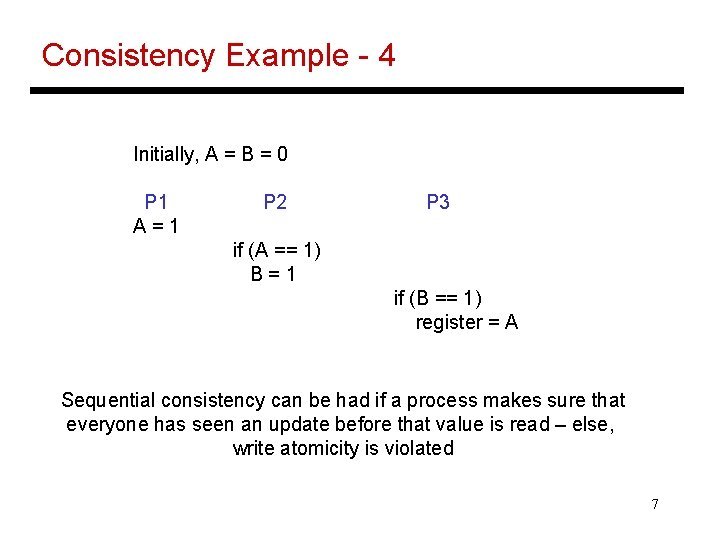 Consistency Example - 4 Initially, A = B = 0 P 1 A=1 P