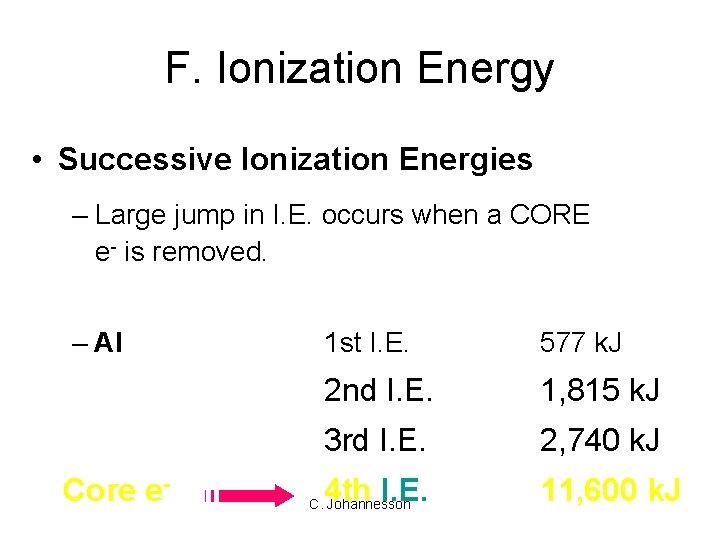 F. Ionization Energy • Successive Ionization Energies – Large jump in I. E. occurs