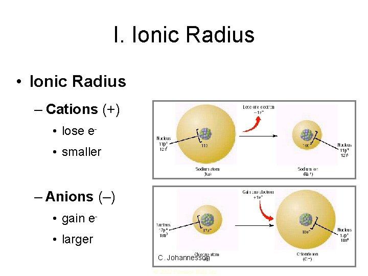 I. Ionic Radius • Ionic Radius – Cations (+) • lose e • smaller