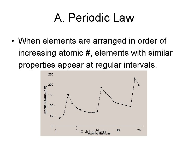 A. Periodic Law • When elements are arranged in order of increasing atomic #,
