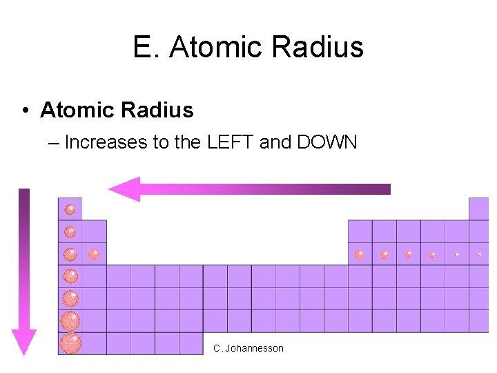 E. Atomic Radius • Atomic Radius – Increases to the LEFT and DOWN C.