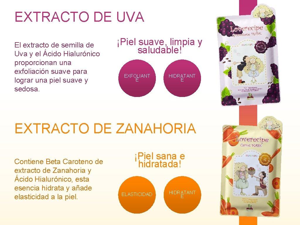 EXTRACTO DE UVA El extracto de semilla de Uva y el Ácido Hialurónico proporcionan