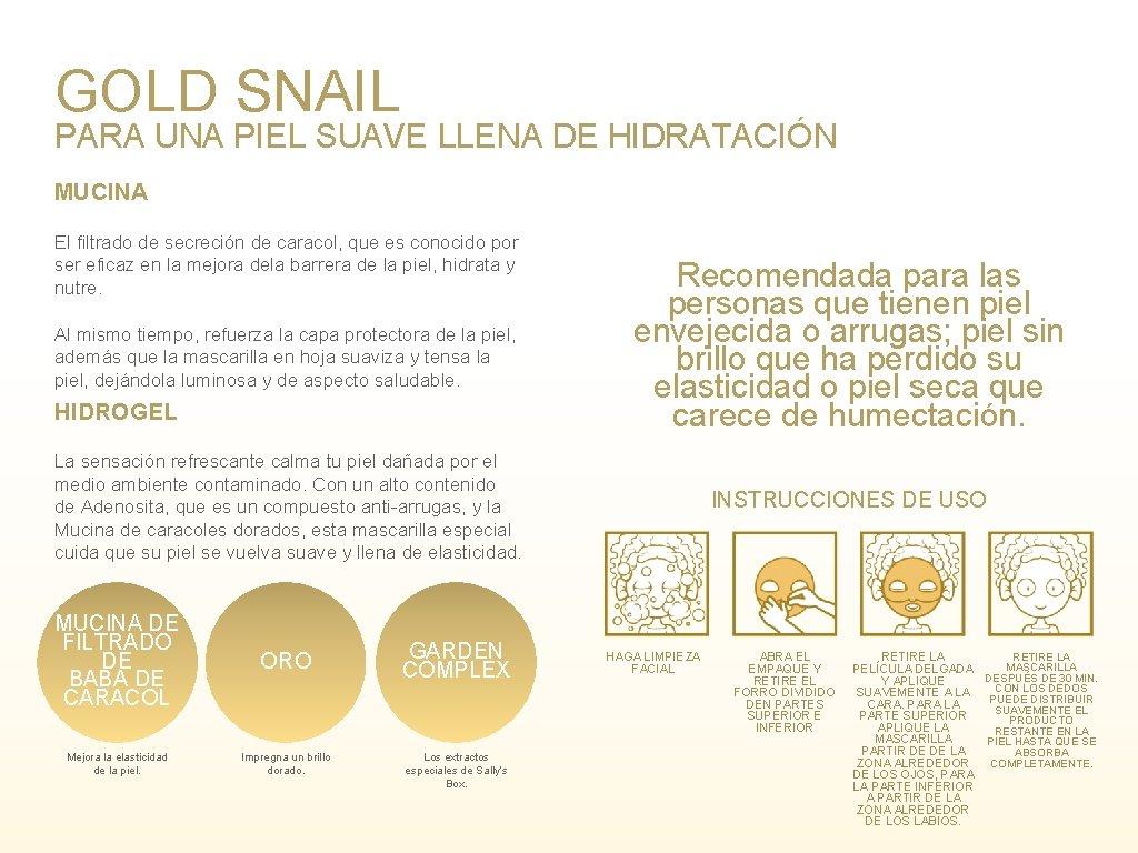 GOLD SNAIL PARA UNA PIEL SUAVE LLENA DE HIDRATACIÓN MUCINA El filtrado de secreción