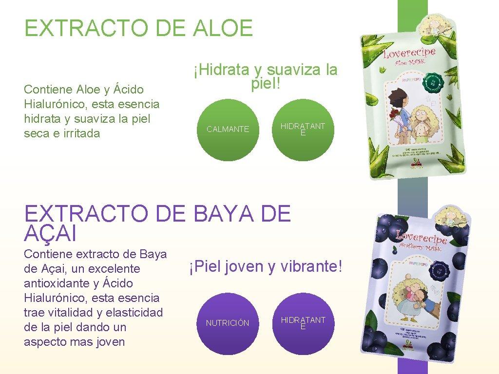 EXTRACTO DE ALOE Contiene Aloe y Ácido Hialurónico, esta esencia hidrata y suaviza la