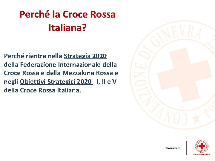 Perché la Croce Rossa Italiana? Perché rientra nella Strategia 2020 della Federazione Internazionale della