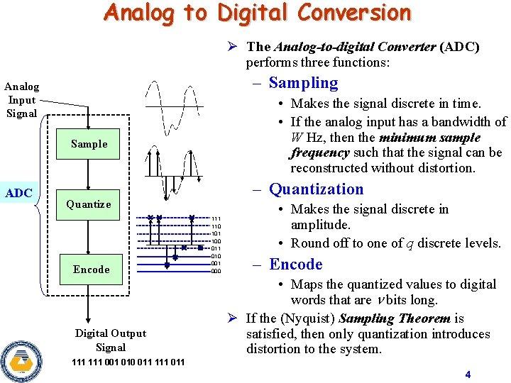 Analog to Digital Conversion Ø The Analog-to-digital Converter (ADC) performs three functions: – Sampling