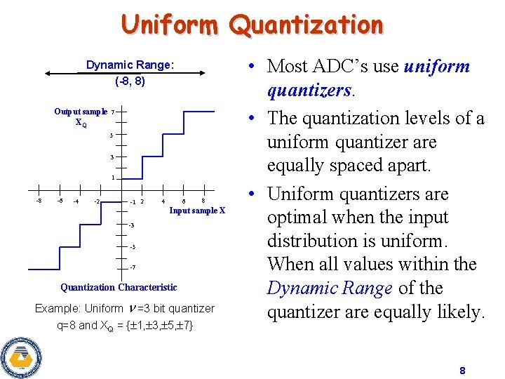Uniform Quantization Dynamic Range: (-8, 8) Output sample XQ 7 5 3 1 -8
