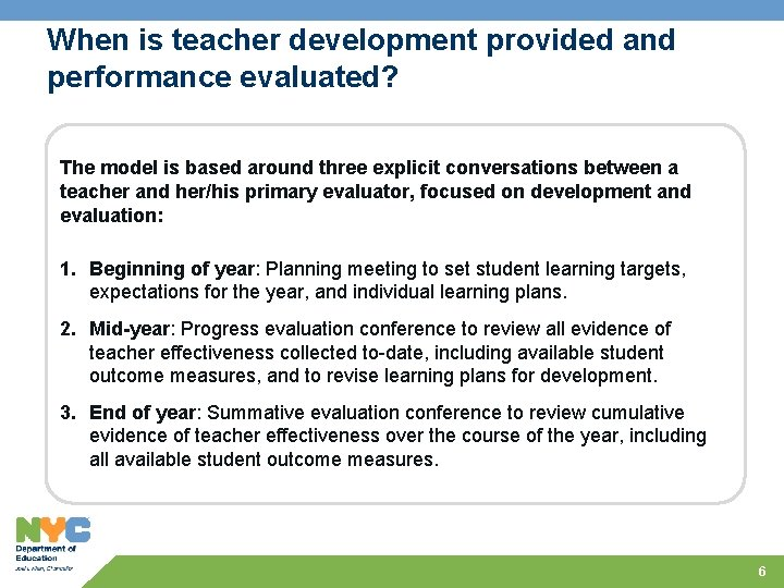 When is teacher development provided and performance evaluated? The model is based around three