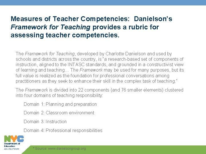 Measures of Teacher Competencies: Danielson's Framework for Teaching provides a rubric for assessing teacher