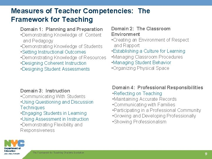 Measures of Teacher Competencies: The Framework for Teaching Domain 1: Planning and Preparation •