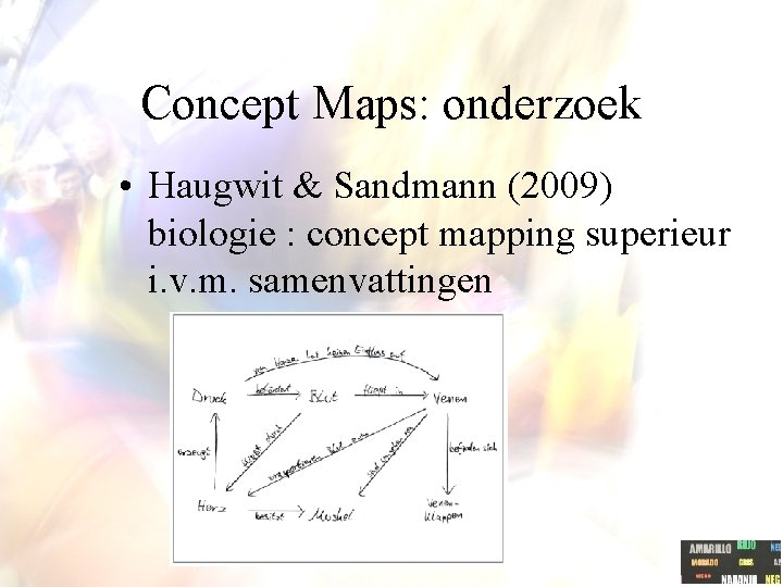 Concept Maps: onderzoek • Haugwit & Sandmann (2009) biologie : concept mapping superieur i.