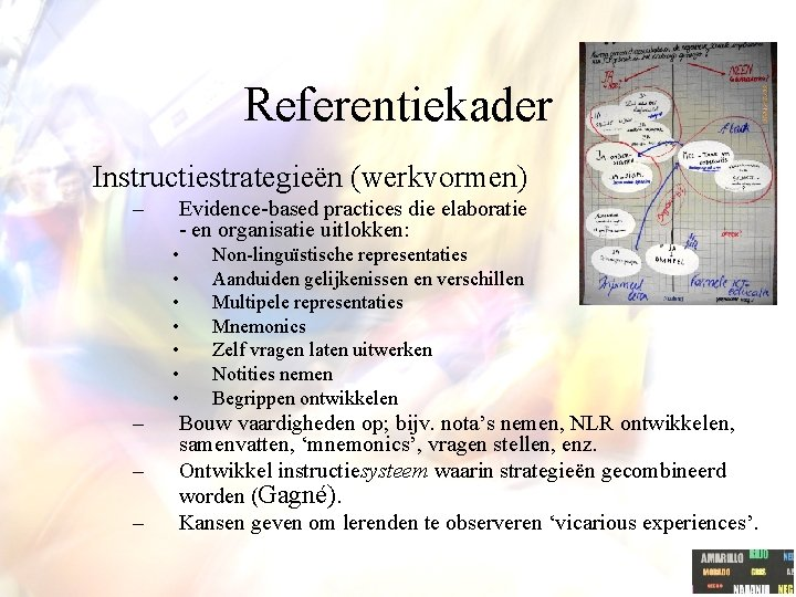 Referentiekader Instructiestrategieën (werkvormen) – Evidence-based practices die elaboratie - en organisatie uitlokken: • •