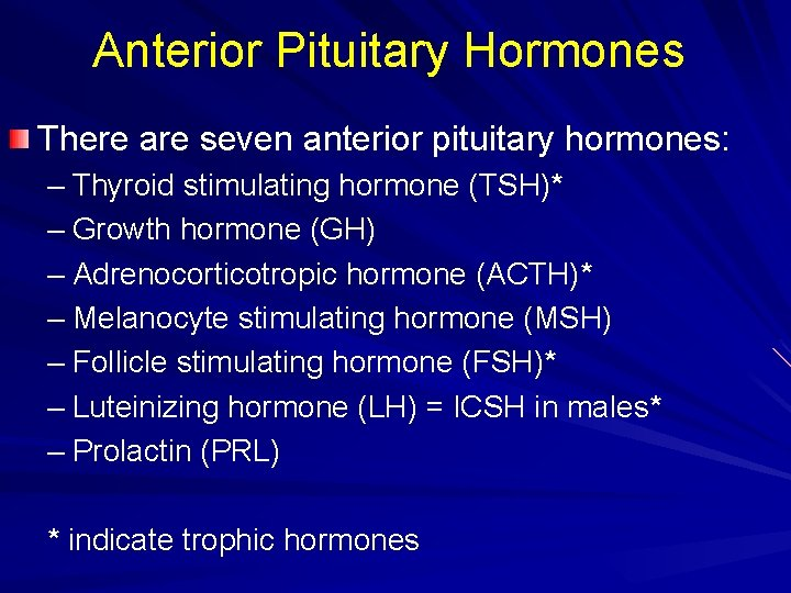 Anterior Pituitary Hormones There are seven anterior pituitary hormones: – Thyroid stimulating hormone (TSH)*