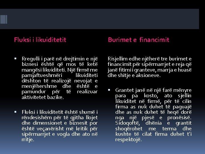 Fluksi i likuiditetit Burimet e financimit Rregulli i parë në drejtimin e një biznesi