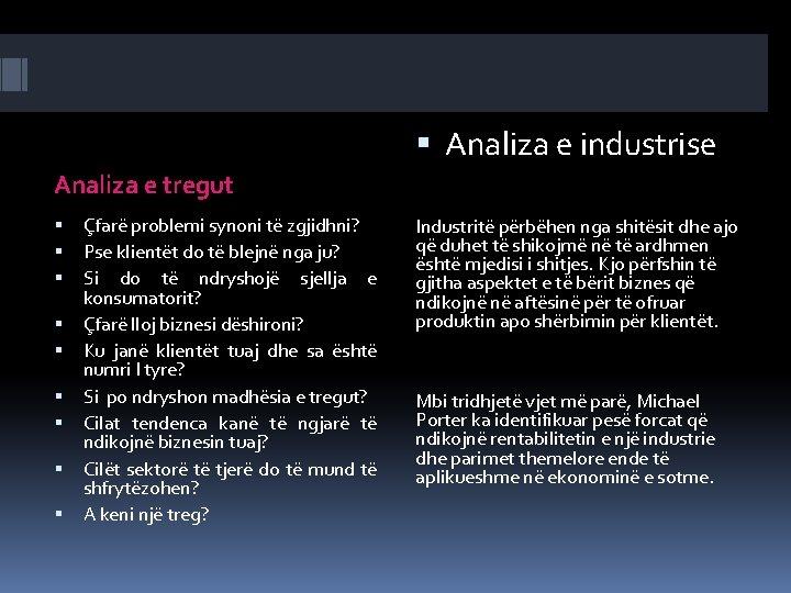 Analiza e industrise Analiza e tregut Çfarë problemi synoni të zgjidhni? Pse klientët