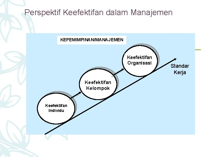 Perspektif Keefektifan dalam Manajemen KEPEMIMPINAN/MANAJEMEN Keefektifan Organisasi Keefektifan Kelompok Keefektifan Individu Standar Kerja