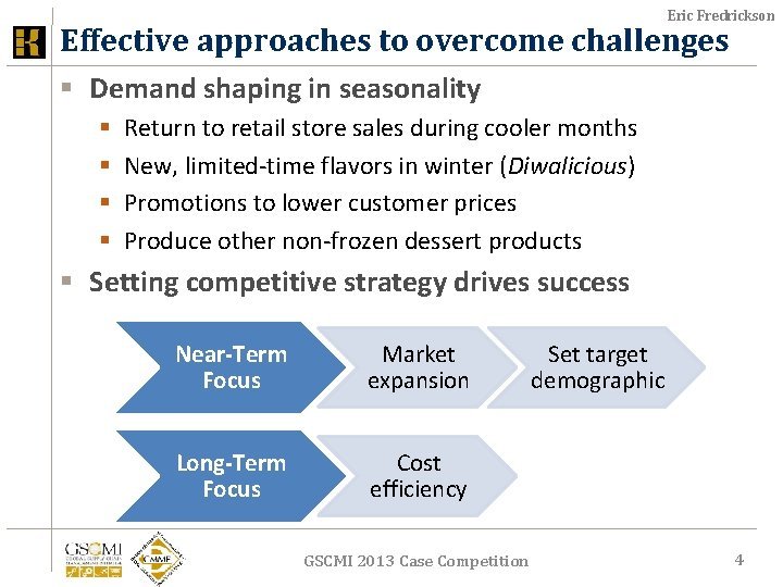 Eric Fredrickson Effective approaches to overcome challenges § Demand shaping in seasonality § §