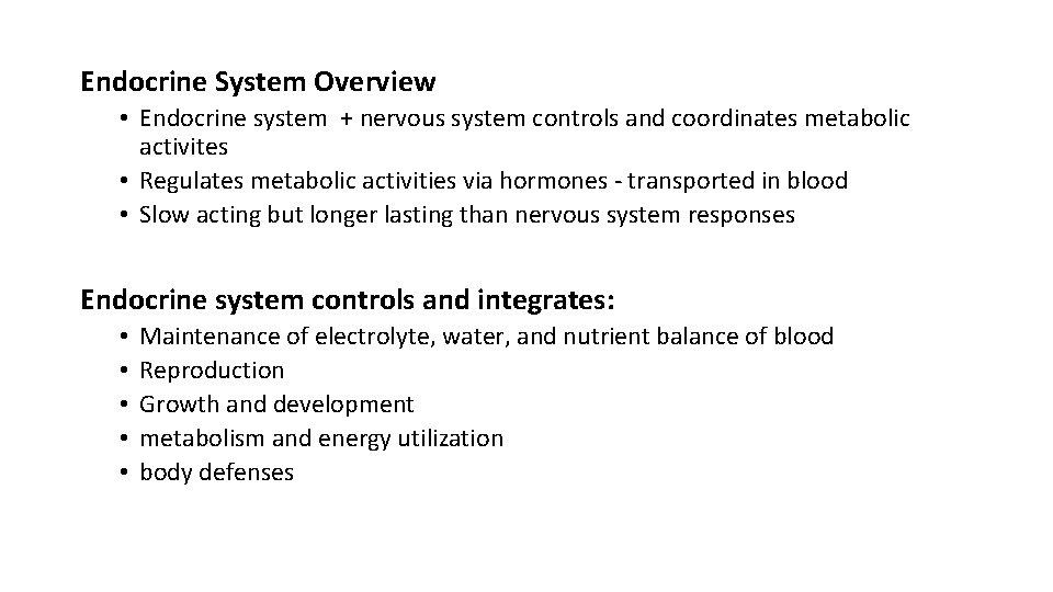 Endocrine System Overview • Endocrine system + nervous system controls and coordinates metabolic activites