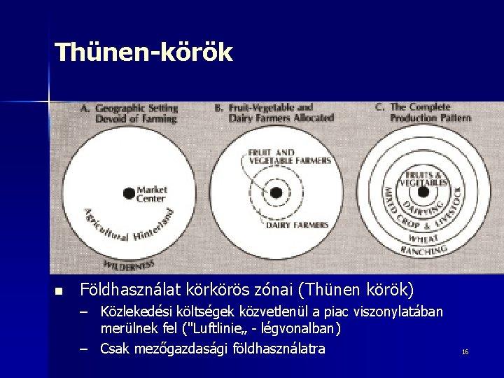 Thünen-körök n Földhasználat körkörös zónai (Thünen körök) – Közlekedési költségek közvetlenül a piac viszonylatában