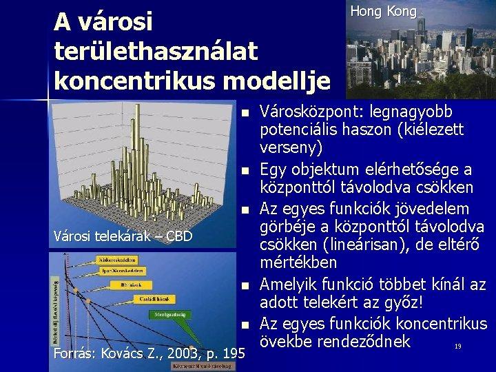 A városi területhasználat koncentrikus modellje n n n Városi telekárak – CBD n n