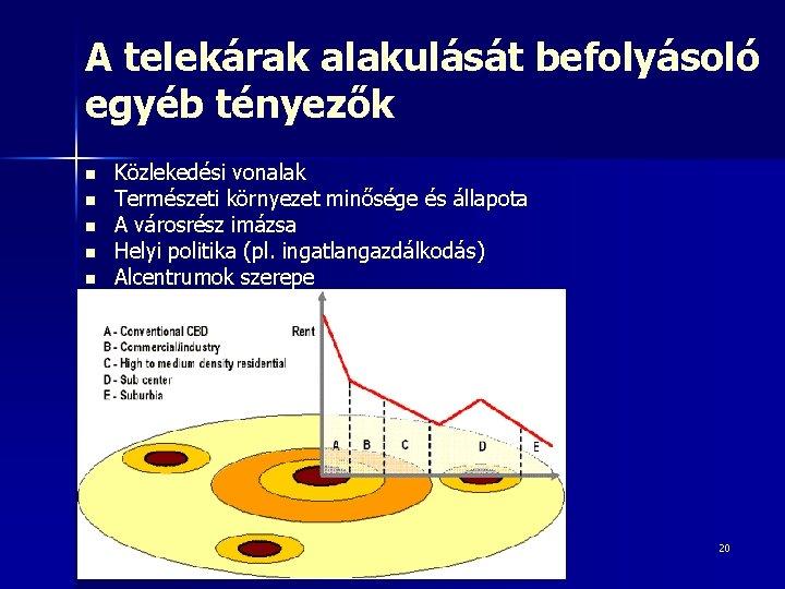A telekárak alakulását befolyásoló egyéb tényezők n n n Közlekedési vonalak Természeti környezet minősége