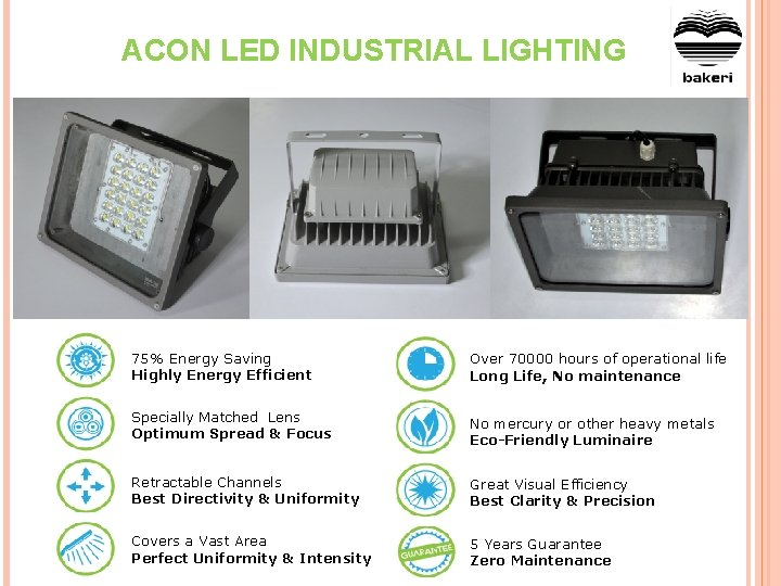 ACON LED INDUSTRIAL LIGHTING 75% Energy Saving Highly Energy Efficient Over 70000 hours of