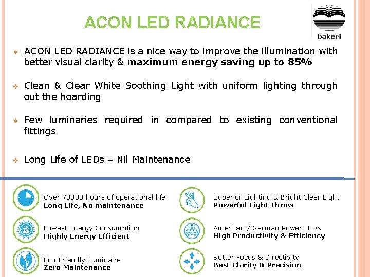 ACON LED RADIANCE v ACON LED RADIANCE is a nice way to improve the