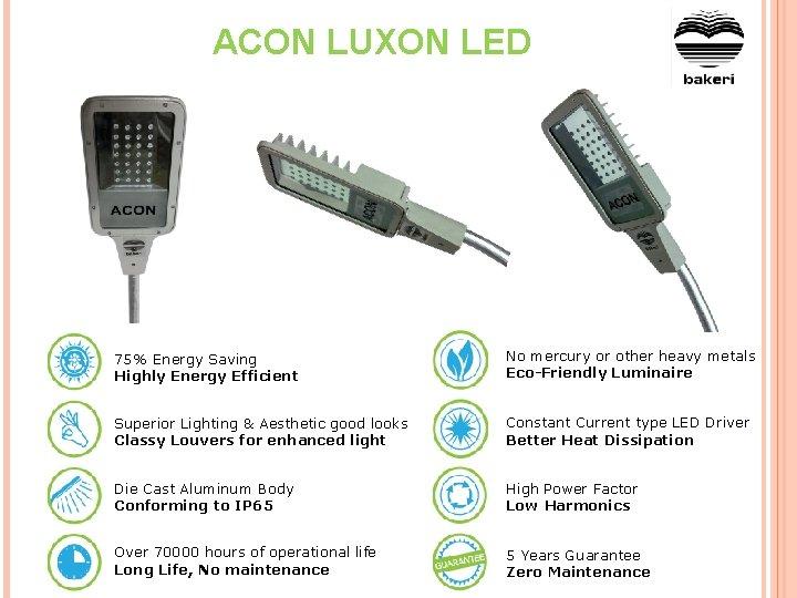ACON LUXON LED 75% Energy Saving Highly Energy Efficient No mercury or other heavy