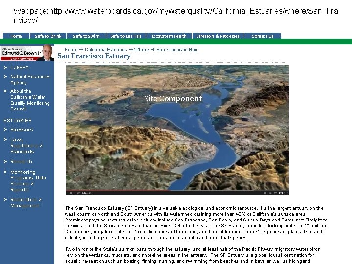 Webpage: http: //www. waterboards. ca. gov/mywaterquality/California_Estuaries/where/San_Fra ncisco/ Home Safe to Drink Safe to Swim
