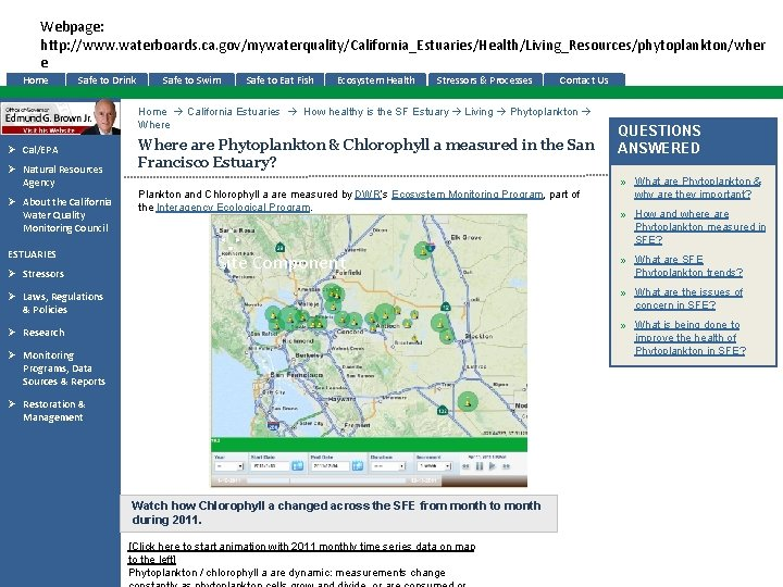 Webpage: http: //www. waterboards. ca. gov/mywaterquality/California_Estuaries/Health/Living_Resources/phytoplankton/wher e Home Safe to Drink Safe to Swim