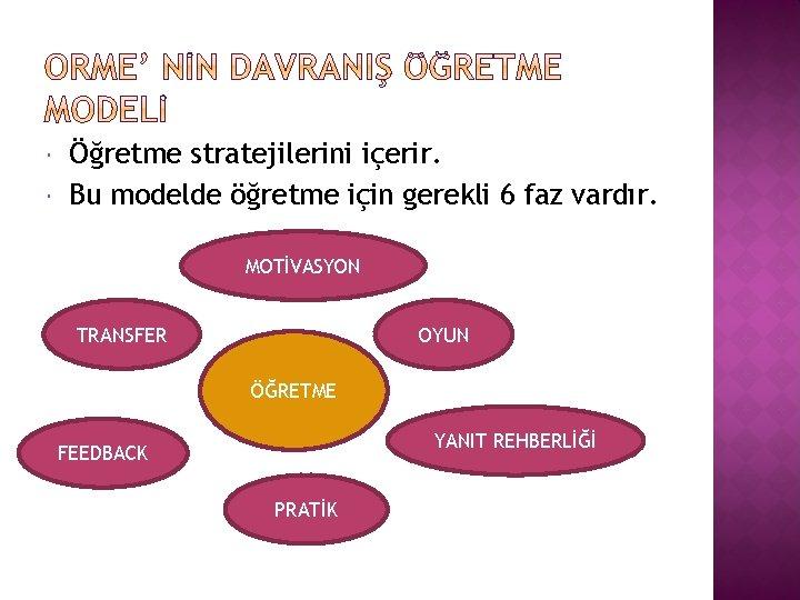 Öğretme stratejilerini içerir. Bu modelde öğretme için gerekli 6 faz vardır. MOTİVASYON TRANSFER