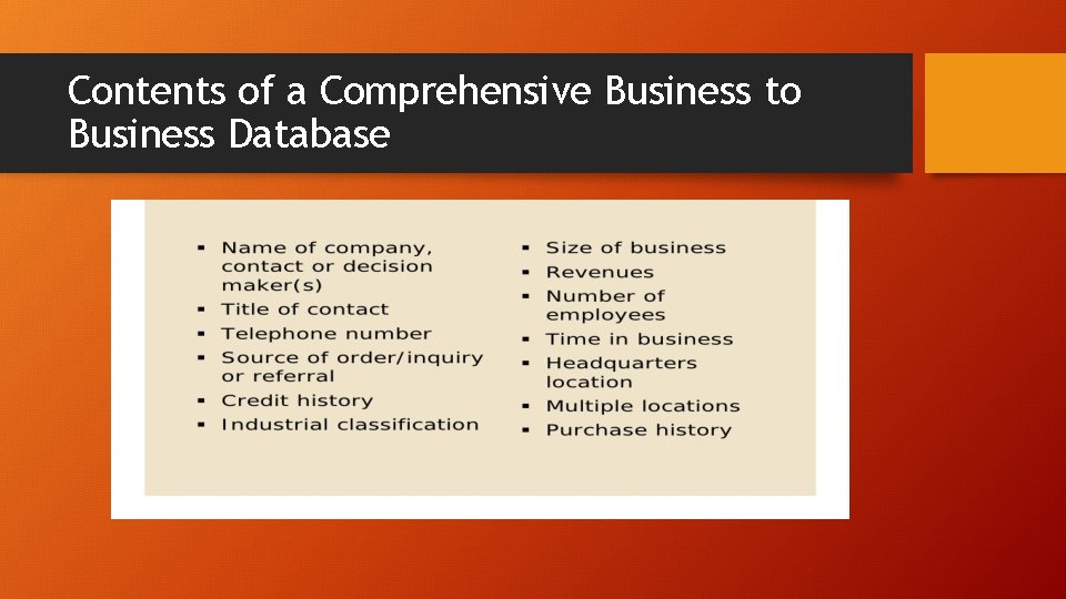 Contents of a Comprehensive Business to Business Database
