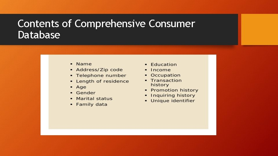 Contents of Comprehensive Consumer Database