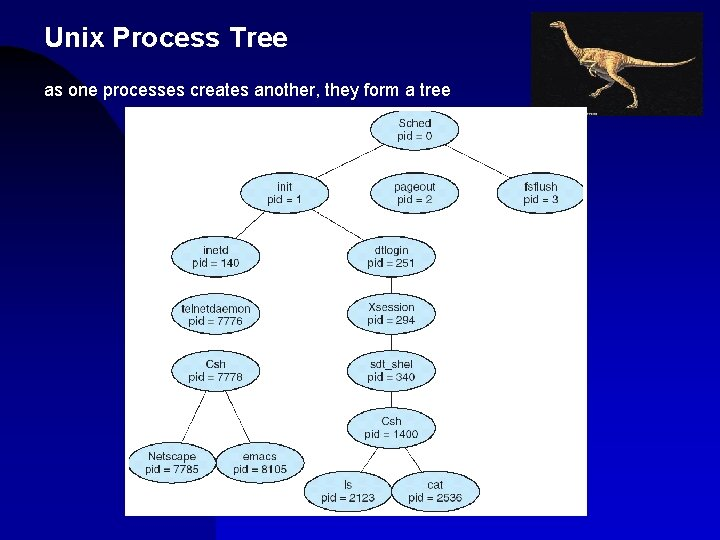 Unix Process Tree as one processes creates another, they form a tree