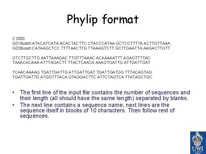 Phylip format 2 2000 G 019 uabh ATACATCATA ACACTACTTC CTACCCATAA GCTCCTTTTA ACTTGTTAAA G 028