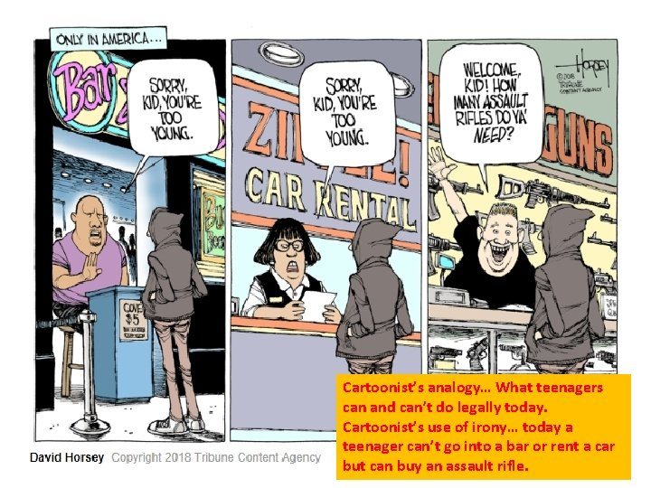 Cartoonist's analogy… What teenagers can and can't do legally today. Cartoonist's use of irony…