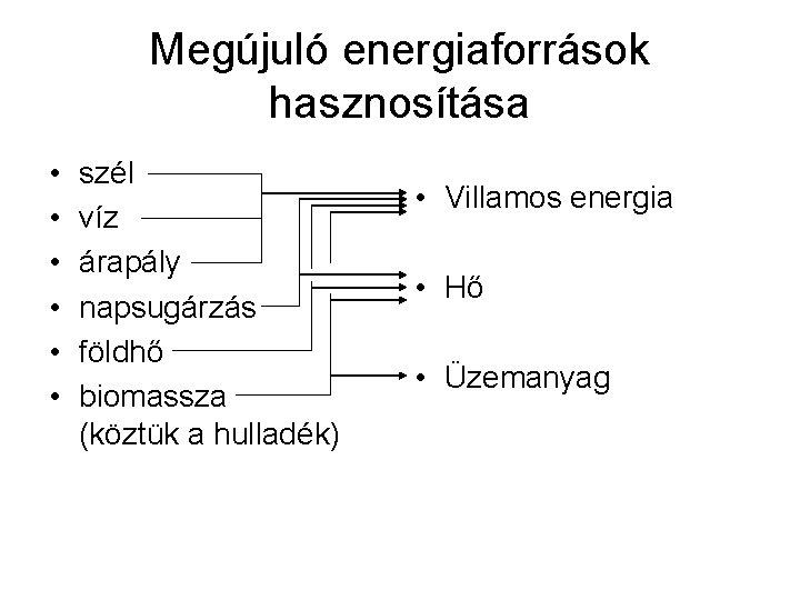 Megújuló energiaforrások hasznosítása • • • szél víz árapály napsugárzás földhő biomassza (köztük a