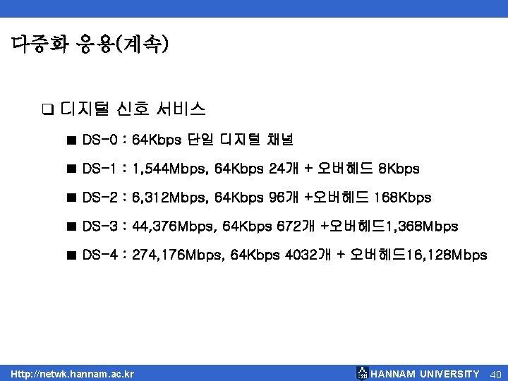 다중화 응용(계속) q 디지털 신호 서비스 ■ DS-0 : 64 Kbps 단일 디지털 채널