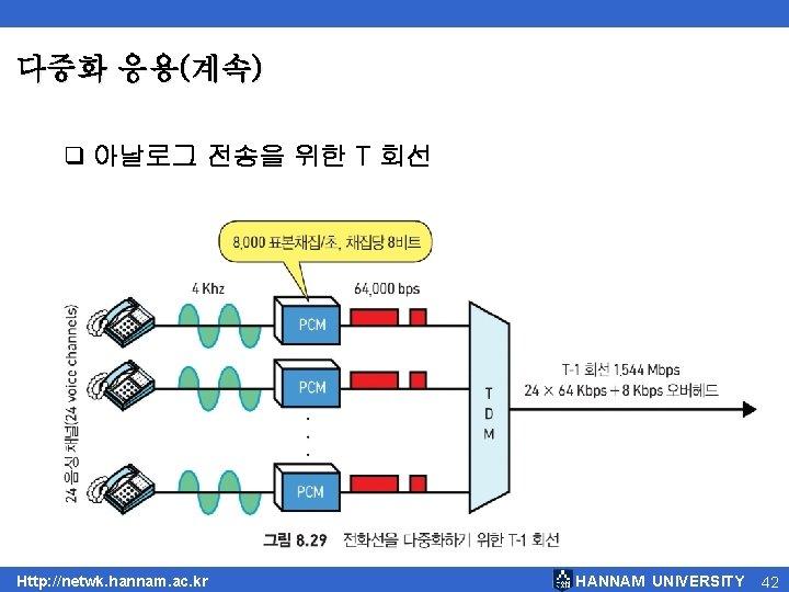 다중화 응용(계속) q 아날로그 전송을 위한 T 회선 Http: //netwk. hannam. ac. kr HANNAM