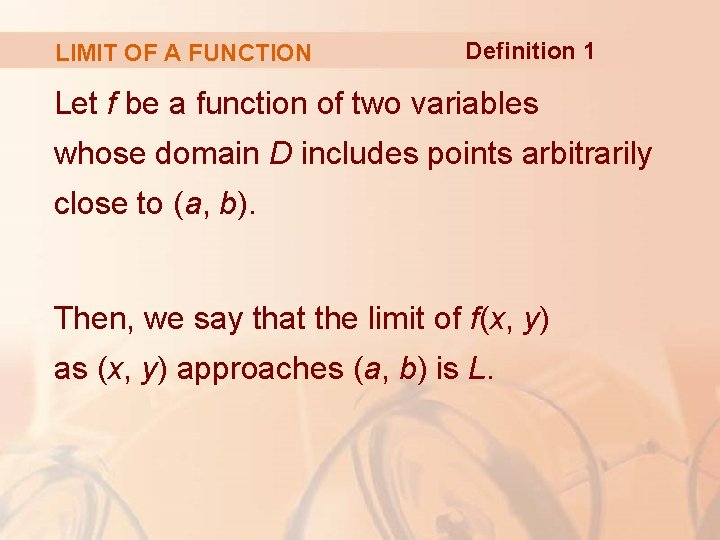 LIMIT OF A FUNCTION Definition 1 Let f be a function of two variables