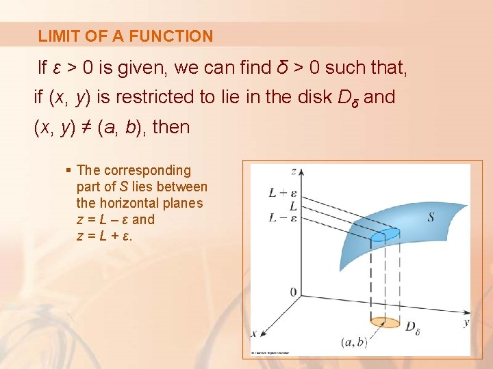 LIMIT OF A FUNCTION If ε > 0 is given, we can find δ