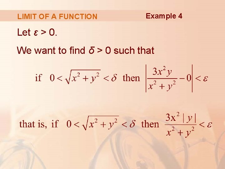 LIMIT OF A FUNCTION Example 4 Let ε > 0. We want to find