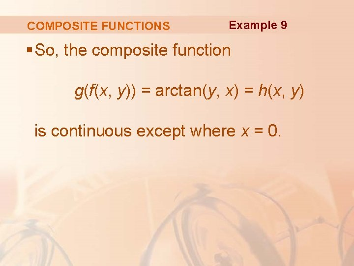 COMPOSITE FUNCTIONS Example 9 § So, the composite function g(f(x, y)) = arctan(y, x)
