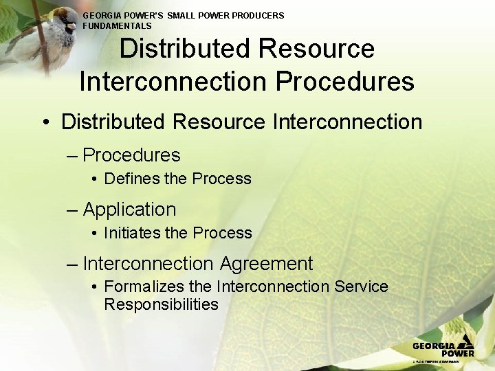 GEORGIA POWER'S SMALL POWER PRODUCERS FUNDAMENTALS Distributed Resource Interconnection Procedures • Distributed Resource Interconnection